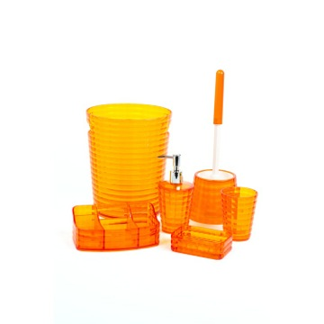 Orange 6 Piece Bathroom Accessory Set