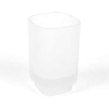 Satin Glass Round Toothbrush Holder