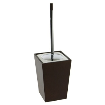 Square Tanganika Wood Toilet Brush Holder