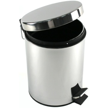Round Polished Chrome Waste Bin With Pedal