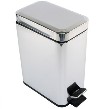 Rectangular Polished Chrome Waste Bin With Pedal