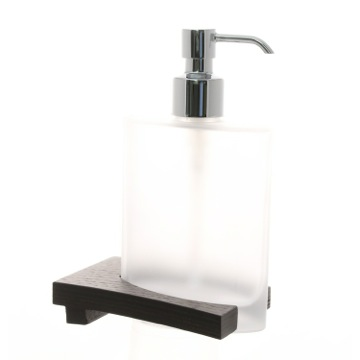 Frosted Glass Soap Dispenser with Wenge Base