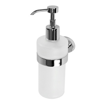 Soap Dispenser Wall Mounted Round Frosted Glass Soap Dispenser With Chrome Mounting 3781-13 Gedy 3781-13