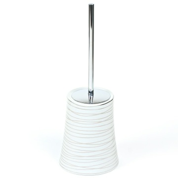 Grey and Silver Ceramic Round Toilet Brush Holder