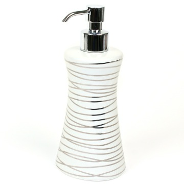 Grey and Silver Ceramic Round Soap Dispenser with Chrome Hand Pump