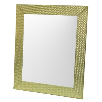 Vanity Mirror Gold Faux Leather Frame Mirror with Horizontal or Vertical Mounting 6700-87 Gedy 6700-87