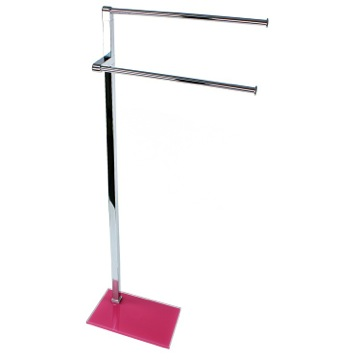 Chrome Towel Stand with Pink Thermoplastic Resins Base