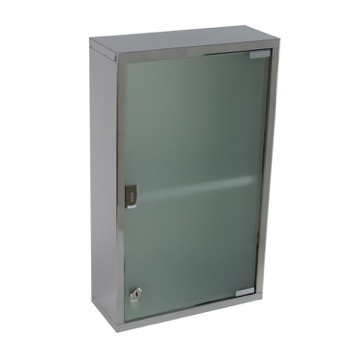 Stainless Steel Cabinet with Cabinet with glass door and 1 shelf