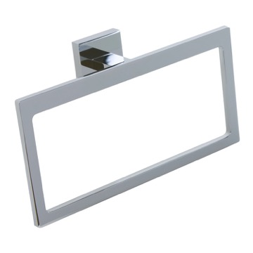 Modern Rectangular Chromed Brass and Cromall Towel Ring A070-13