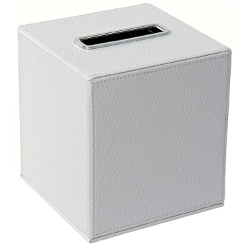 Square Tissue Box Holder Made From Faux Leather in White Finish