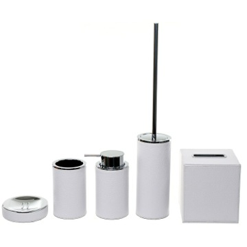 Stylish, White 5 Piece Accessory Set, Free Stand