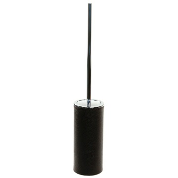 Free Standing Toilet Brush Holder Made From Faux Leather in Wenge Finish