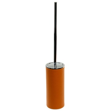 Free Standing Toilet Brush Holder Made From Faux Leather in Orange Finish