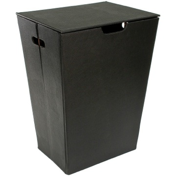 Rectangular Laundry Basket Made From Faux Leather in Wenge Finish