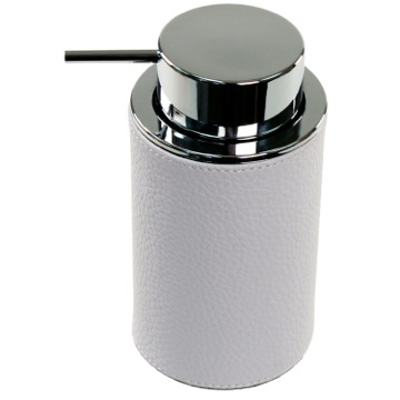 Round Soap Dispenser Made From Faux Leather In White Finish