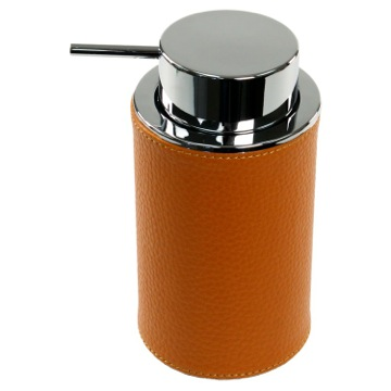 Round Soap Dispenser Made From Faux Leather In Orange Finish