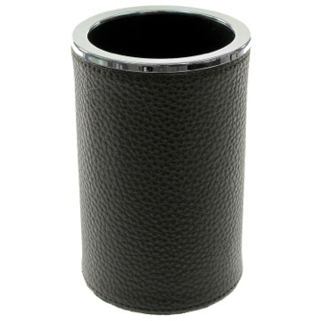 Round Toothbrush Holder Made From Faux Leather in Wenge Finish