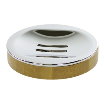 Round Free Standing Soap Dish in Natural Wood Finish