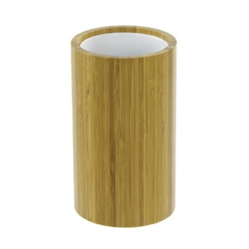 Round Natural Wood Toothbrush Holder