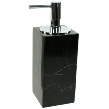 Black Marble Soap Dispenser with Chrome Pump