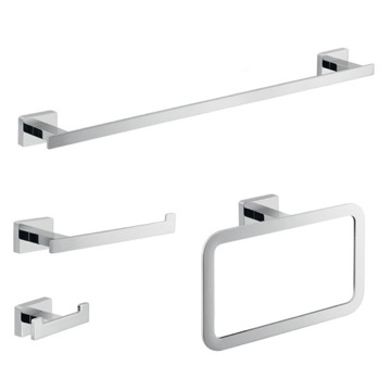 Wall Mounted Chrome Accessory Set