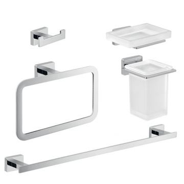 Chrome Brass and Frosted Glass Bathroom Accessory Set