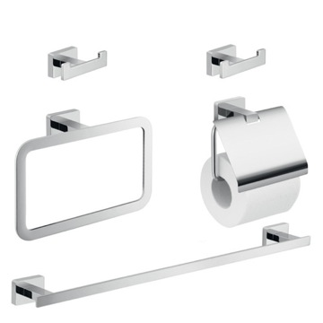 Five Piece Bathroom Hardware Set in Chrome Finish