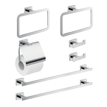 Chrome Seven Piece Bathroom Accessory Set