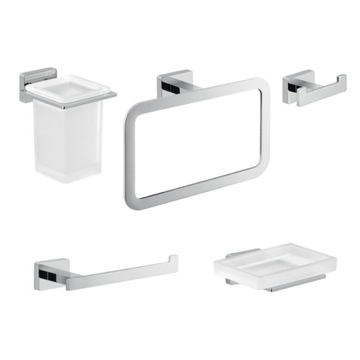 Five Piece Chrome Bathroom Accessory Set