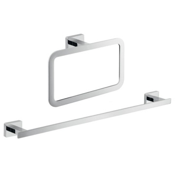 Two Piece Bathroom Hardware Set in Chrome Finish