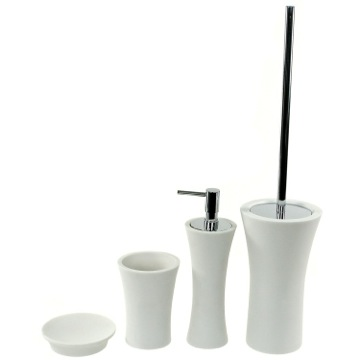 Contemporary 4 Piece Bathroom Accessory Set in White