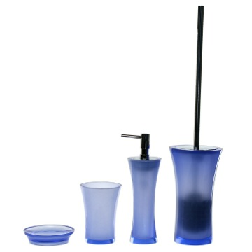 Blue Contemporary 4 Piece Bathroom Accessory Set