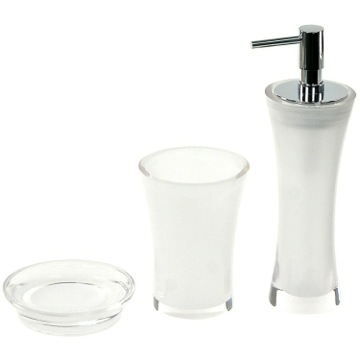 3 Piece Bathroom Accessory Set In Transparent Finish