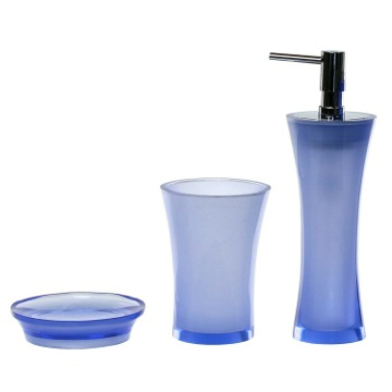 Blue 3 Piece Bathroom Accessory Set