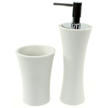 2 Piece White Stone Bathroom Accessory Set