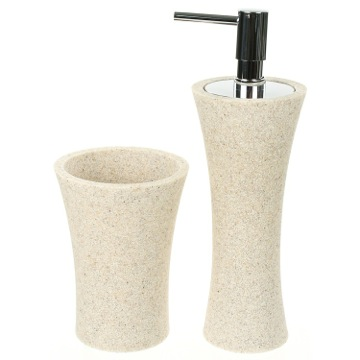 Natural Sand Soap Dispenser and Toothbrush Holder Accessory Set