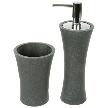 Black Soap Dispenser and Toothbrush Holder Accessory Set