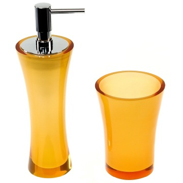 Orange Toothbrush Holder and Soap Dispenser Accessory Set