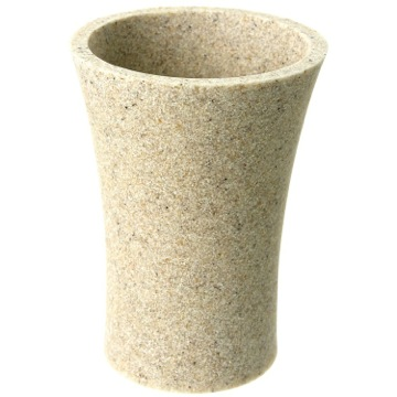 Round Toothbrush Holder Made From Stone in Natural Sand Finish