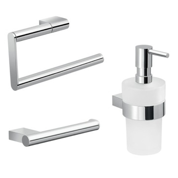 Three Piece Chrome Bathroom Accessory Set