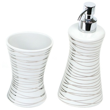 Silver 2 Piece Decorative Bathroom Accessory Set
