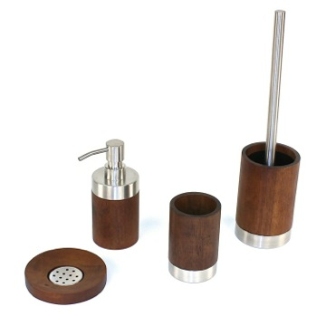 Bathroom Accessory Set Erica Walnut Wood Bathroom Accessory Set ER100 Gedy ER100