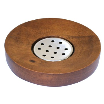 Round Walnut Soap Holder