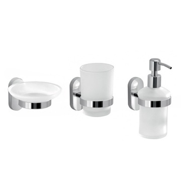 Wall Mounted Three Piece Accessory Set Made of Frosted Glass