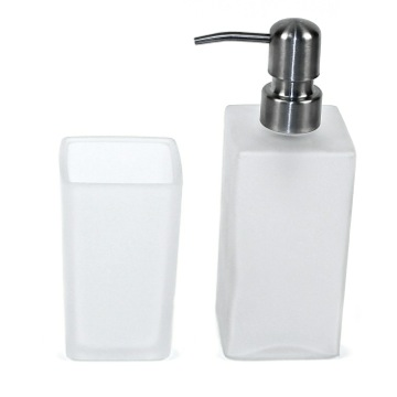 Bathroom Accessory Set Frosted Glass Toothbrush Holder and Soap Dispenser GA100-02 Gedy GA100-02
