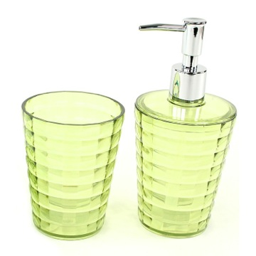 Green Toothbrush Holder and Soap Dispenser Accessory Set