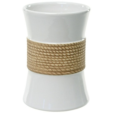 Round White Toothbrush Holder