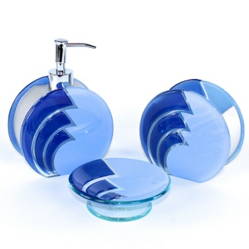 Blue Glass Countertop Bathroom Accessory Set