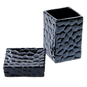 Square Blue Pottery Soap Dish and Tumbler Set