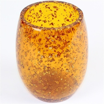 Round Transparent Gold Toothbrush Holder